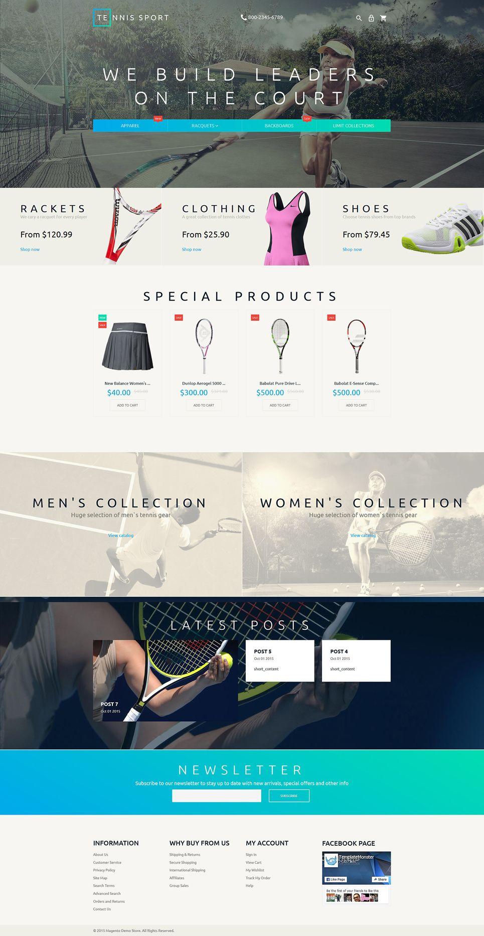 Mẫu website thể thao bán phụ kiện tennis