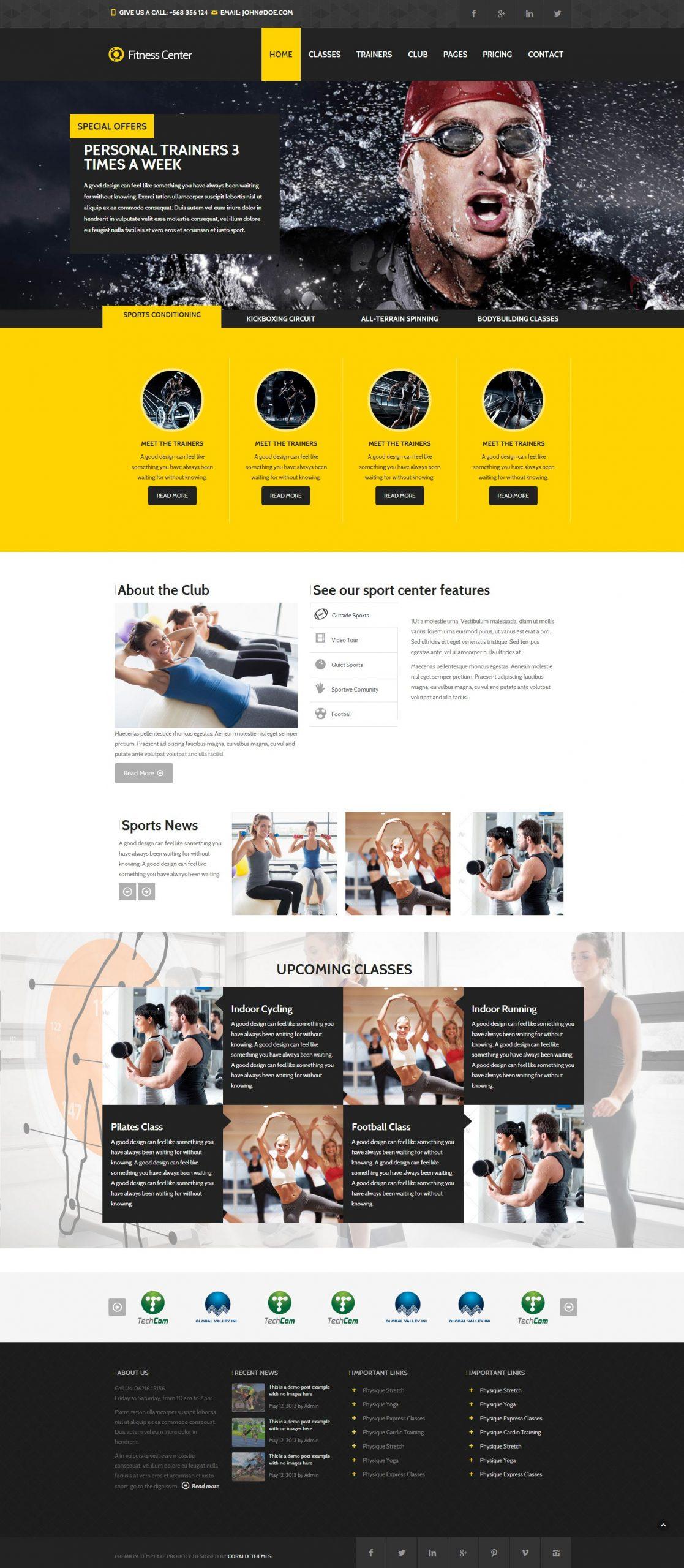 Mẫu thiết kế website trung tâm thể dục - thể thao