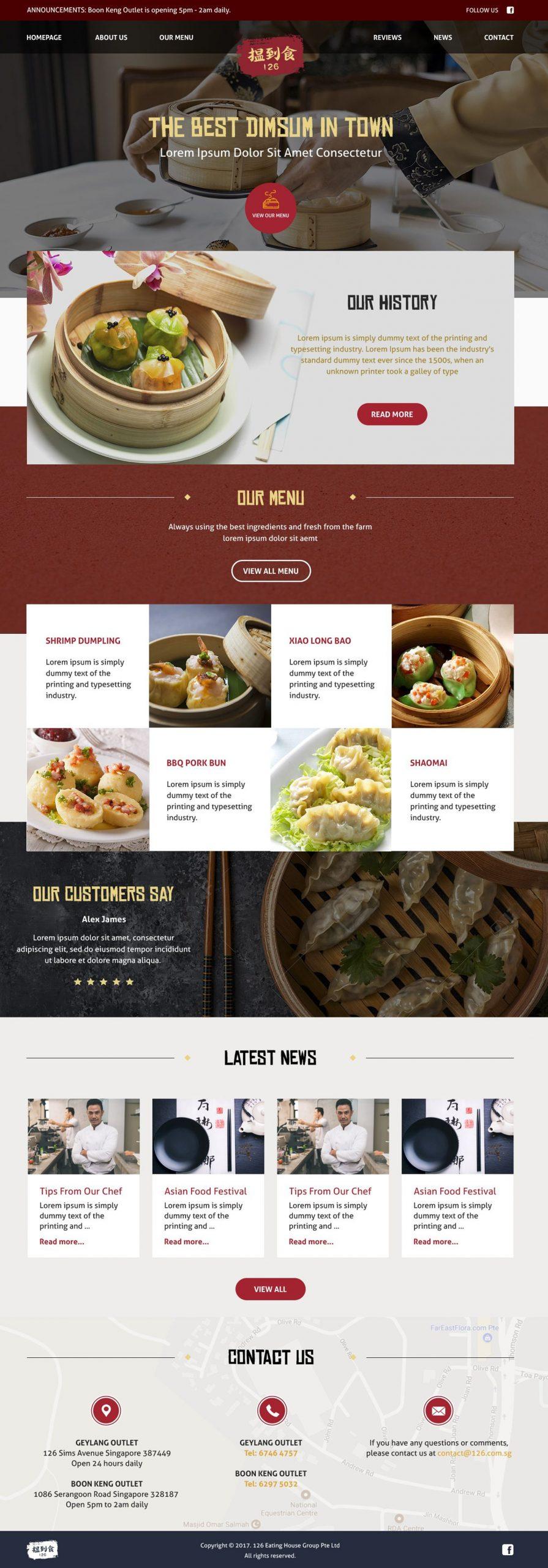 Mẫu website nhà hàng Á Đông