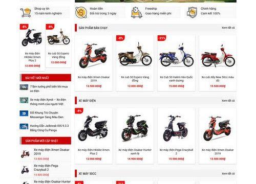 Mẫu website bán xe máy