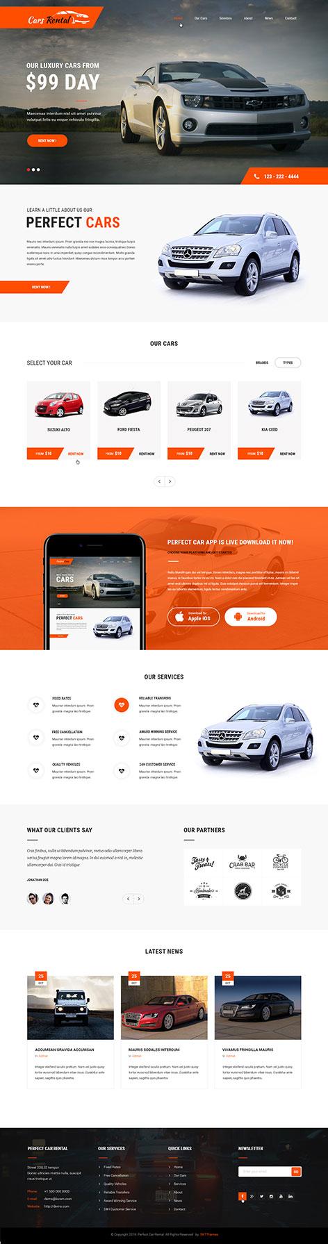 Mẫu website bán xe ô tô