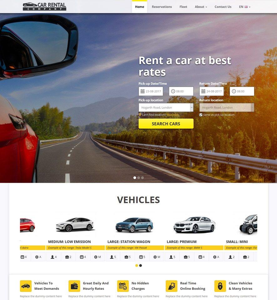 Mẫu website cho thuê xe ô tô