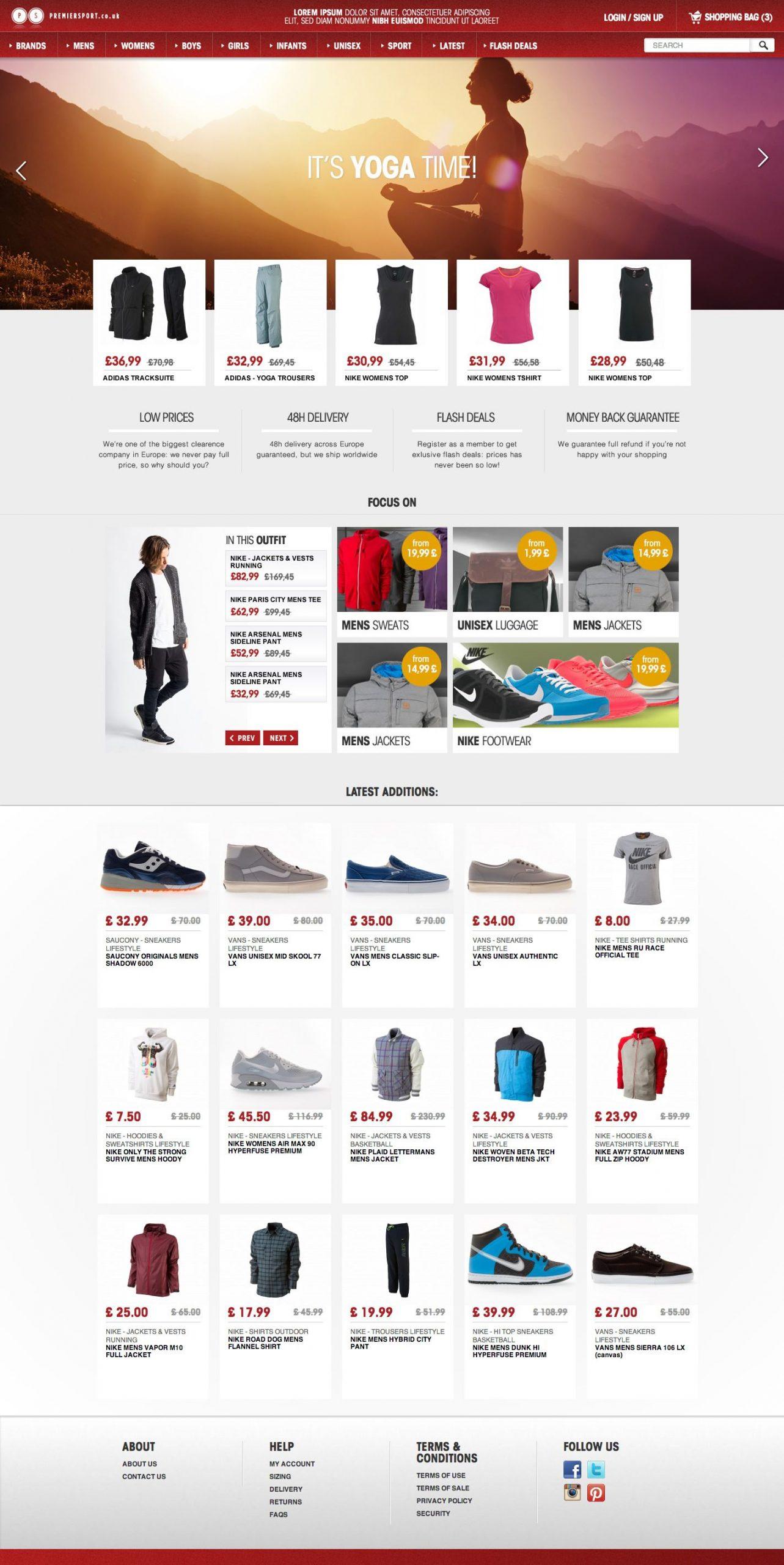 Mẫu website thời trang thể thao